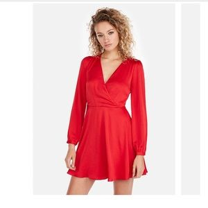 Express Red Long Sleeved  Fit & Flare Dress